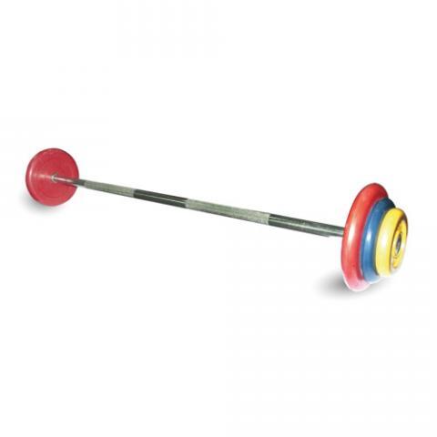 Штанга неразборная с цветными дисками MB Barbell MB-BarMW-C25