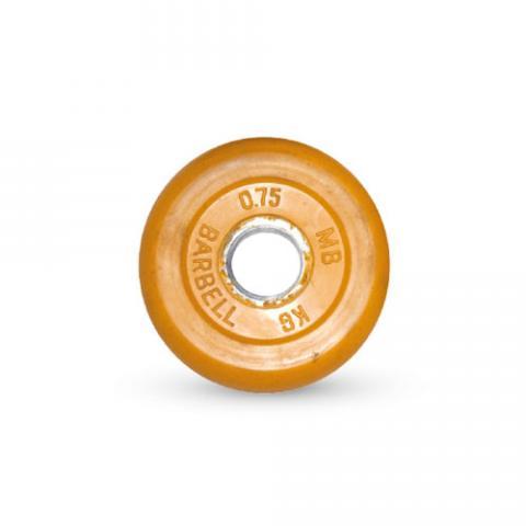Диск обрезиненный, желтого цвета 26 мм MB Barbell MB-PltC26-0,75